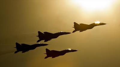 Cazas Mikoyan MiG-29 de las Fuerzas Aeroespaciales de Rusia.